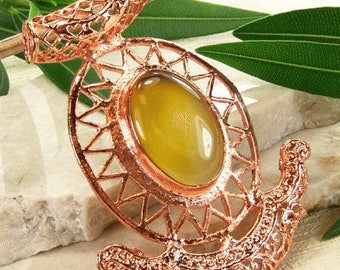 Copper pendant with yellow onyx, yellow semiprecious stone, ornate copper pendant, golden yellow stone pendant, statement necklace pendant