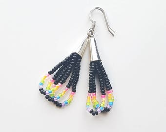 Black & Neon Beaded Dangles