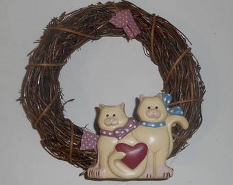Cat Kitten Lover Mini Wreath Door Hanger Wall Decor Home Decor