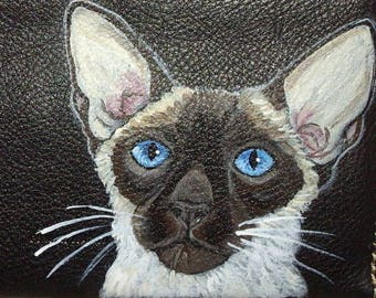 Siamese Cat Custom Hand Painted Leather Men's Wallet