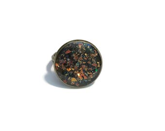 Adjustable Dome Ring - Copper Ring With Mica Glass Flakes