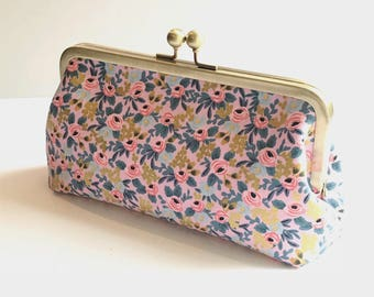 Wedding Clutch Bridesmaid Gift Pink Blue Gold Floral Rifle Paper Co. Kiss-lock Frame Made to Order