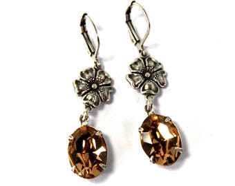 Art Deco Style Earrings in Antiqued Silver with Pale Golden Topaz Swarovski Crystal Stones Poppy Flower Details