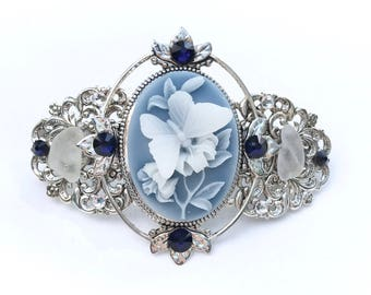 Cameo Hair Barrette Blue and White Butterfly  with Beach Glass and Crystal Accents