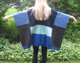 BLUE LAGOON cashmere poncho . made from repurposed chamere sweaters . blue cashmere poncho