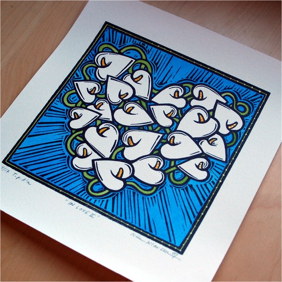 In Love II - Hand Painted Linoleum Print