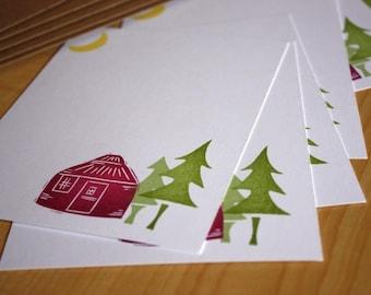 Moonlit Yurt Stationery Set - Yurt Note Cards - Camping Note Cards - Tent Note Cards - Yurt Hand Printed Stationery - Set of 6