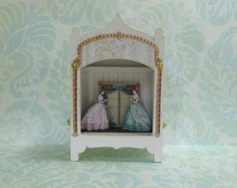 Miniature Toy Theater Vignette in Pale Pink/Peach