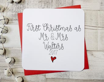 Personalised 1st Christmas as Mr Mrs, Mr Mr, Mrs Mrs Christmas card 2017 - uk seller -1st married Christmas card