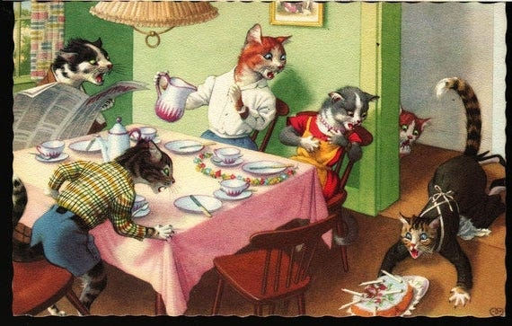 Alfred Mainzer - Cats at Birthday Dinner Party - Vintage Postcard
