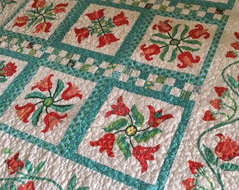 Lap Quilt in Aqua, Red and Green, floral Quilt, Strawberry and Tulip, Panel quilt, Quilted Blanket, Bright and Cheery