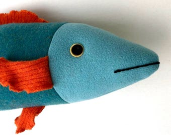 Aqua, blue green, and orange bright wool fish throw pillow doll