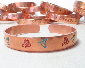 Hand Stamped Painted Hammered Copper Bangle Cuff Bracelet - Turquoise Hummingbirds and Red Flowers - Handpainted Stacking Bracelet