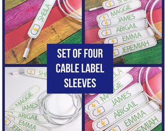 Personalized Phone Cable Label - cord organizer - SET of FOUR - Charger Cord Sleeve - cable  - for iphone lightening cable  or micro USB