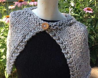 SALE Gray Tweedy Handknit Capelet Wrap Shawl with Reclaimed Wood Button