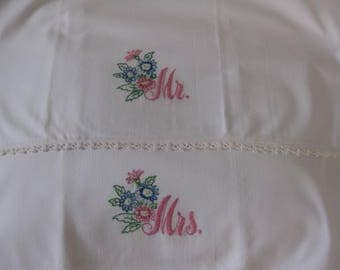 Vintage Pillowcases Pillowslips, Mr and Mrs, Wedded Bliss, White with Pink Letters, Blue, Pink Flowers, Lace Crochet Embroidery, Needlework