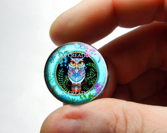 Retro Glass Owl Cabochon for Jewelry and Pendant Making - Design 11