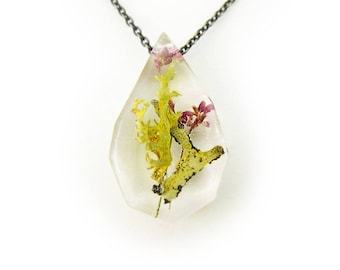 Small Purple Flower Terrarium Eco Resin Necklace