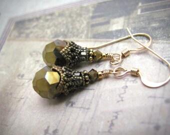 Free Shipping Earrings Swarovski Crystal Earrings Bronze 14kt Gold Fill Dangles, Steampunk Victorian Edwardian Design, Dainty Gold Earrings