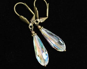 Vintage Crystal Earrings Chandelier Dangle Drops, Vintage Swarovski Crystal AB Beads, Holiday Wedding Bridal Gift, Steampunk Boho Bohemian