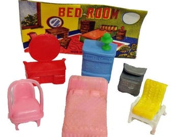 SALE 1pkg TINY FURNITURE Set 1960s Vintage Plastic Doll Accessories Toys