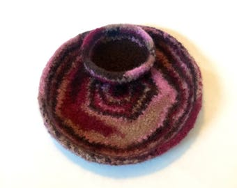 Felted Dresser Tray in Brown, Pink and Rose With Matching Ring Bowl