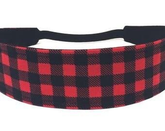 Red Buffalo Plaid Girls Headband, Child, Children's, Black & Red Plaid, Reversible Fabric Headband - RED BUFFALO PLAID