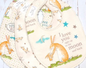 Love You Baby Bibs, Boy or Girl - Gender Neutral Bibs - Set of 3 Triple Layer Chenille - LOVE YOU to the MOON