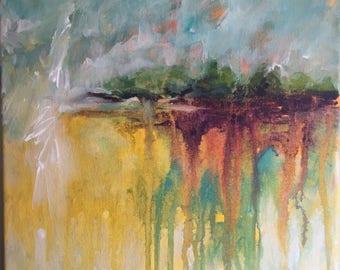 Abstract Acrylic Landscape 12x12 gallery wrap canvas original painting home decor shabby chic farmhouse boho