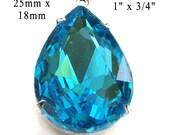 Aqua Blue Glass Pendant - Rhinestone Teardrop - 25mm x 18mm - 25x18 Pear - Glass Gem - Bridesmaid Jewel