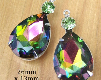 Rainbow Vitrail Glass Beads - 26mm x 13mm Beads with 18x13 Teardrop - Rhinestone Pendant or Earring Drops - Jewelry Supply - One Pair