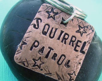 Squirrel Patrol Pet Id Tag - hand stamped antiqued copper pet tag - custom personalized with pets name and number, for your furry friend
