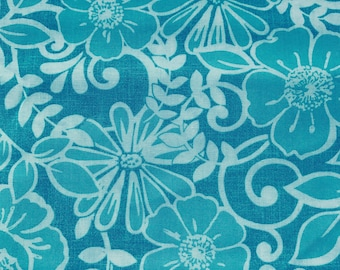 Weighted Blanket - Adult or Child - Aqua Turqoise Flowers - Choose your weight (up to 15 lbs) and minky color - custom