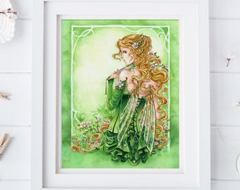 Green Faerie, fairy poster, steampunk art, blonde girl, fantasy print, watercolor art, illustration