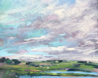IRELAND Clouds over the Countryside plein air  Landscape Original Pastel Painting Karen Margulis 10x8