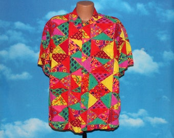 Jams World Collectors Edition Bright Tapestry Style Short Sleeve Button Up Large Shirt Vintage 1990s
