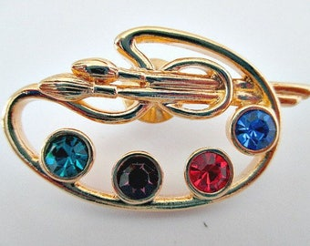 Painter's Palette Brooch Pin in Box - Avon Artist Painter Pin - Vintage Avon Pin - Avon Jewelry Gift