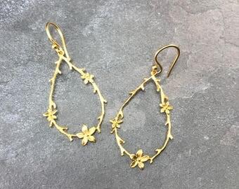 Lovely Floral 22K gold Vermeil Tear Drop Hoops