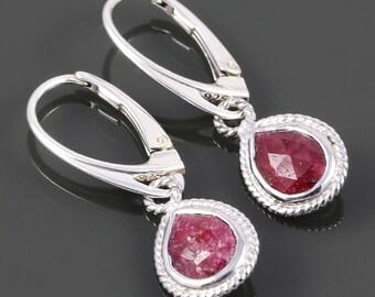 Genuine Ruby Earrings. Sterling Silver. Lever Back Ear Wires. Genuine Gemstone. Red Ruby. July Birthstone. s18e001