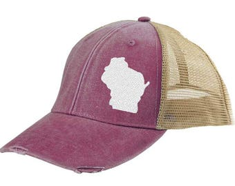 Distressed Snapback Trucker Hat - Wisconsin off-center state pride hat - Many Colors available
