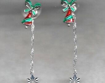 ON SALE Christmas Tree Dangle Earrings