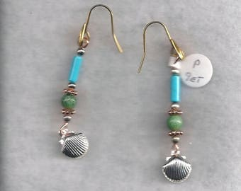 ON SALE Turquoise and Ziosite Drop Earrings