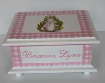 Baby keepsake box pink gingham bunny Baby Memory Box personalized baby girl shower gift hand painted
