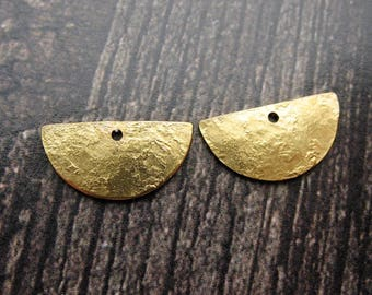 Textured Bright Brass Half Wheel Charms - 1 pair - 9 by 15mm