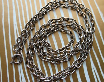 """Silver Tone Textured Steel Chain Necklace - 24"""" in lnegth"""