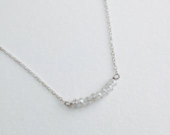 Serenity Necklace – Row of Tiny Clear Swarovski crystals on sterling silver chain