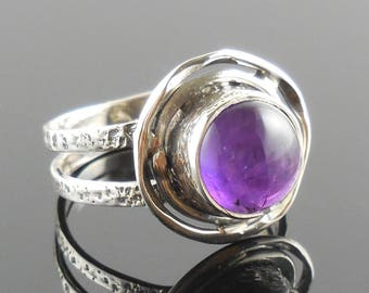 Amethyst sterling silver ring – size 8.5