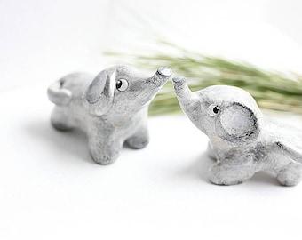 Elephant Cake Topper Wedding - Clay Elephants - Wedding Elephant cake topper - Love Elephants - READY TO SHIP - Animal Cake Topper