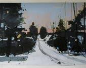 Paysage d'hiver Original tombée du jour, le 12 février, Collage peinture sur papier, Stooshinoff
