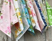Floral Cloth Napkins-Vintage Flowers-Upcycled Linens-Set of 12